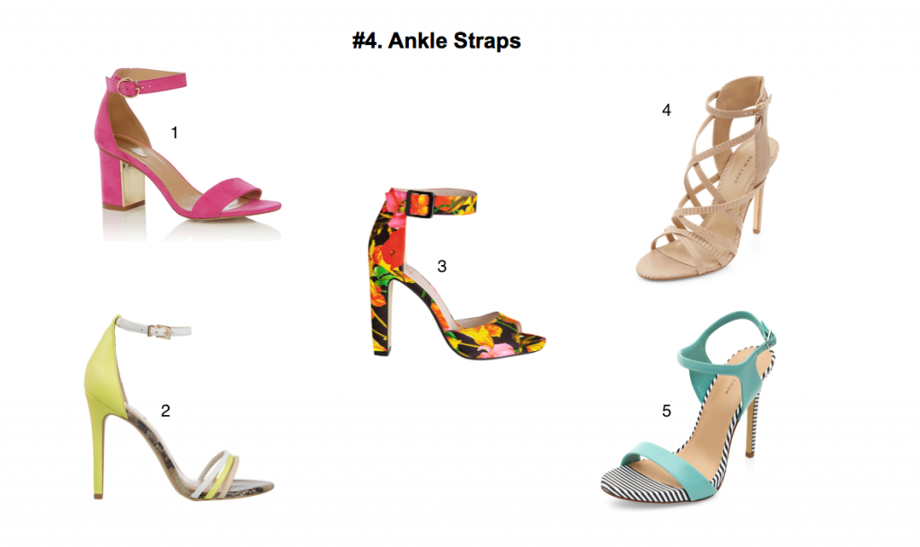 6fa970571013 Pink suede sandals, €44 at Oasis 2. Lime shoes, €50 at River Island 3.  Faith floral heels, €63 at Debenhams 4. Snakeskin textured strap heels,  €39.99 at New ...