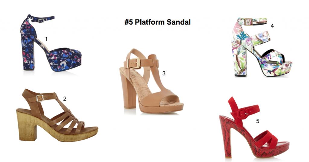 c70e280b8da6 White tropical print platform sandals, €29.99 at New Look 5. Martha red  platform heels, €105 at Dune